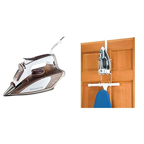 Rowenta DW5080 1700-Watt Micro Steam Iron Stainless Steel Soleplate with Auto-Off, 400-Hole, Brown & Whitmor Wire Over The Door Ironing Caddy - Iron and Ironing Board Storage Organizer