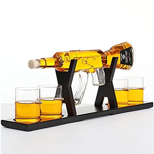 XIAN-jing Juego de decantador de Licor de Pistola, Elegante Pistola de Rifle con 4 Vasos Decantador de Whisky 22.5'800ml para Whisky escocés Vodka Hecho en casa, papá, Esposo, Novio