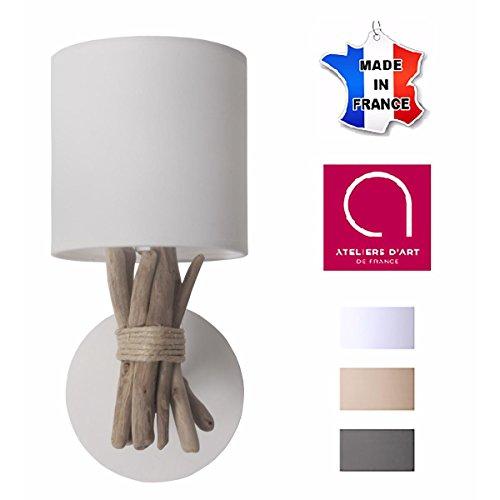 Lampe applique murale en bois flotté BLANC - Fabriqué à la main par un artisan Français - 100% matériaux naturels