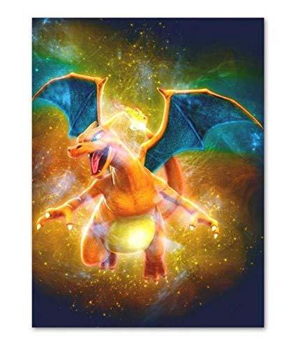 H/F Poster Pokemon Pikachu Cartone Animato Dipinto su Tela Stampa Opera d'Arte da Parete Immagine in Stile Nordico Camera da Letto Decorazione della Casa Senza Cornice (15,7 X 19,6 Pollici) G8519