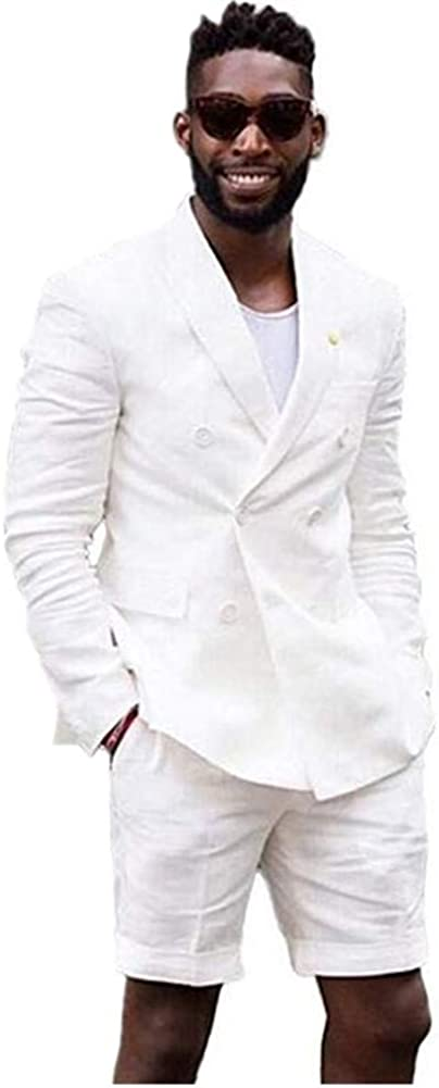 White Summer Men Suit 2 PC(Jacket+Short Pants) Blazer Slim Fit Formal Business Grooms Tuxedo
