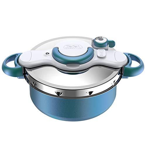 SEB ClipsoMinut'® DUO 5L Cocotte-minute® Bleu Boréal Revêtement antiadhésif Tous feux dont induction Autocuiseur, Fabriqué en France P4705100,...