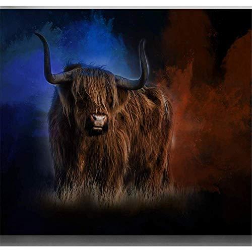 RuiChuangKeJi Arte de Pared de Lona 60x80cm sin Marco Vaca Hermosa sobre Fondo Azul Hippowarehouse Highland Cow Diseño de Pared de Arte de Lona impresión Decoración para el hogar