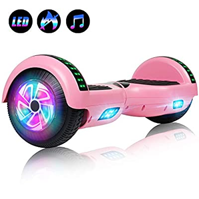 Felimoda 6.5 Inch Self Balancing Scooter Hoverboard UL2272 Certified Dual Motors w/Led Light Charger for Child and Adult(Pink)