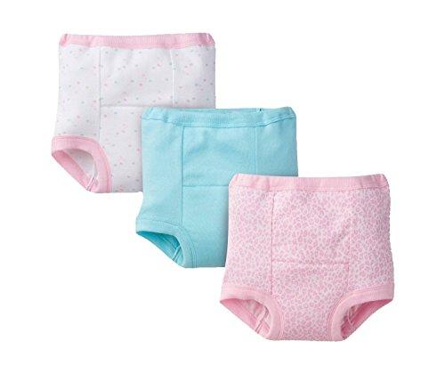 GERBER Little Girls' 3-Pack Training Pant - Hearts (3T, Pink Leopard)