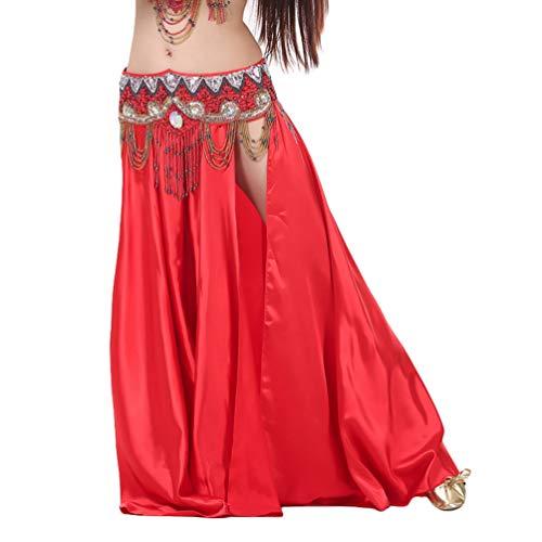 GladiolusA Falda Danza del Vientre Mujer Traje De Falda Largas La Danza del Vientre Falda Satén De Práctica De Baile Ropa De Rendimiento Falda