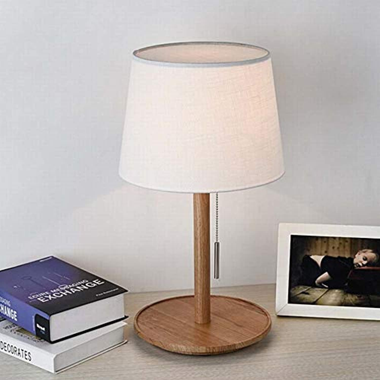 Mode Garten Holz Schlafzimmer Nachttischlampe Dekoration Nordischen Holz Kunst Studiezimmer Led Stoff Hause Tischlampe Zweifarbig Originalitt (Farbe   A)