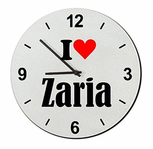 Druckerlebnis24 Glasuhr I Love Zaria eine tolle Geschenkidee die von Herzen kommt  Wanduhr  Geschenktipp: Weihnachten Jahrestag Geburtstag Lieblingsmensch
