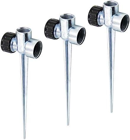Twinkle Star 3 Pack 1 2 Inch Zinc Flow Thru Lawn Sprinkler Spike Base Watering Sprinklers for product image