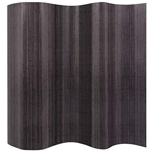 Paneele, faltbarer Bambus-Sichtschutz, freistehender Raumteiler, Raumteiler für den Innenbereich, Trennwand, Paravent, für Büro, Wohnzimmer, Schlafzimmer, Hotel, Grau, 250 x 195 cm