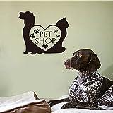 Tienda de mascotas vinilo etiqueta de la pared perro gato pata corazón papel pintado tienda de mascotas mural etiqueta de la pared arte casa decoración del hogar A8 30x33 cm