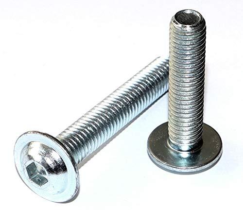 Tornillos de cabeza plana con hexágono interior y brida M6 x 40 DIN 7380-2, acero galvanizado, 10,9 unidades, número 10 unidades