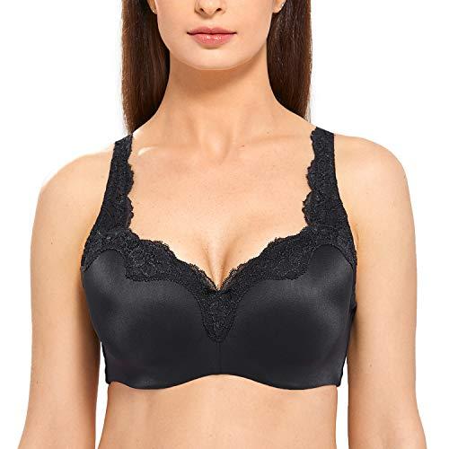 DELIMIRA Women's Full Coverage Underwear Contour Support T-shirt Bra Black 36DD