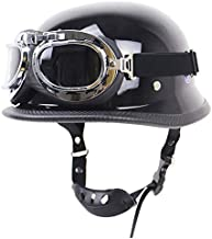 Motorcycle Half Helmet for Men with Goggles,DOT Approved German Style Skull Cap Retro Locomotive Motorbike Half Shell Helmet Low Profile Half Face Moped Scooter Helmets A,M
