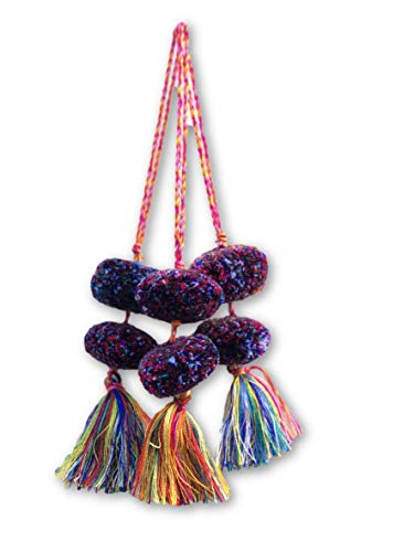 Mayan Arts Set of 3 Handmade Bright Colored Pom Poms, Decorative Tassels, Ethnic, Boho, Tribal Accents Home Decor, from Guatemala