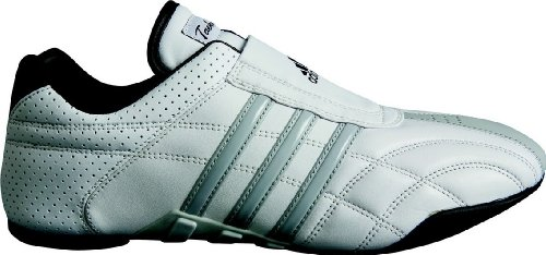 adidas Taekwondo Adilux Shoes (8, White W/Gray Stripe)