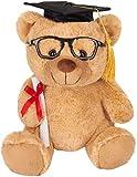 BRUBAKER Oso de Peluche con Gafas, Diploma y Sombrero Doctoral - Peluche para la Graduación, el Instituto o la Universidad - 25 cm - Marrón Claro