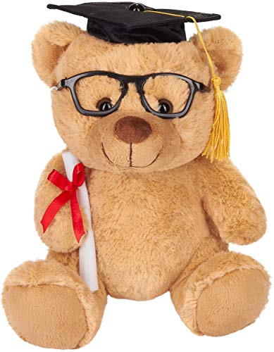 Brubaker Teddy Plüschbär mit Brille, Diplom und Doktorhut - Kuscheltier für den Abschluss, Abitur oder Studium - 25 cm - Plüschtier - Hellbraun