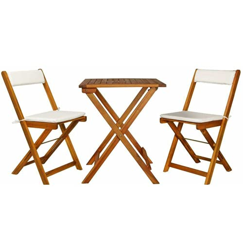 PiuShopping - Juego de mesa de balcón de madera de acacia con 2 sillas para jardín, plegable, 80 x 80 cm