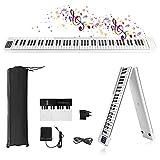 Piano Electrónico Plegable de 88 Teclas,Vogvigo Teclado Semipesado de Tamaño Completo con 128 Tonos/Bluetooth/Pedal de Sostenido/Aplicación Inteligente Para Practicar