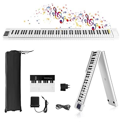 88 Tasti Pianoforte Digitale Pieghevole,Vogvigo Pianoforte Portatile Pieghevole,Tastiera Semi-Pesata a Grandezza Naturale con 128 toni Bluetooth,Pedale Sustain,APP Intelligente,Per Principianti