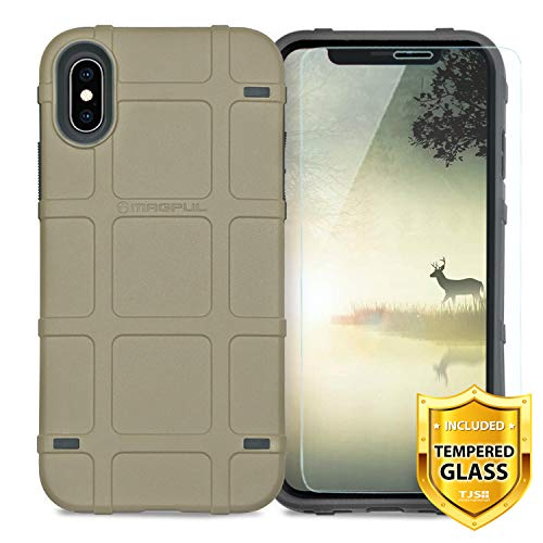 """Case Compatible for Apple iPhone X/iPhone Xs 5.8"""" inch, with [TJS Tempered Glass Screen Protector] Magpul Industries Bump MAG1094-FDE Polymer Case Cover Retail Packaging (Flat Dark Earth)"""