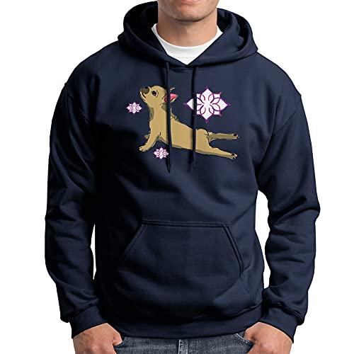 French Bulldog Yoga Long Sleeve Hoodies, Funny French Bulldog Sweatshirt Navy, L