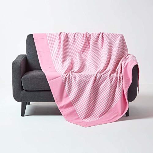 HOMESCAPES Couvre lit - Couverture, 2 Personnes (225 x 255 cm). Pur Coton Ultra Doux. Couleur Rose Blanc