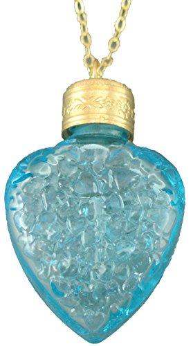 Herzflakon Kette mit Flakon in massiv durchgefärbten Kristallglas in Aqua, klar, mit Kette Gold