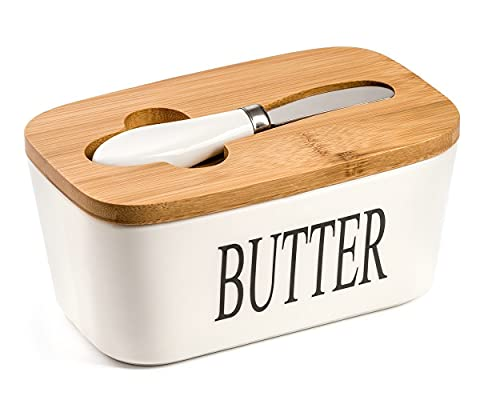 Butter Dish, Ceramic Butter ContainerLarge withLidandKnife for Countertop, White