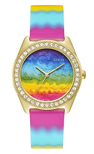 GUESS Reloj de cuarzo de acero inoxidable para mujer con correa de silicona, multicolor, 20 (Modelo: GW0250L1)
