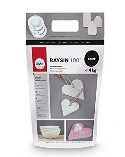 Rayher 34409102 Raysin 100 Polvere di Ceramica, Gesso da Colare, Sacchetto 4 kg, Asciuga all'Aria, Inodore, per Uso Hobbistico e Progetti Creativi, Colore Bianco