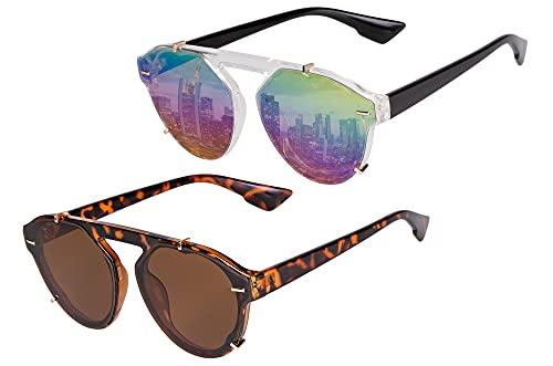 UrbanSky Gafas de Sol David - Elegantes Gafas de Sol Redondas - Libres de contaminantes - Filtro UV 400 (Warm)