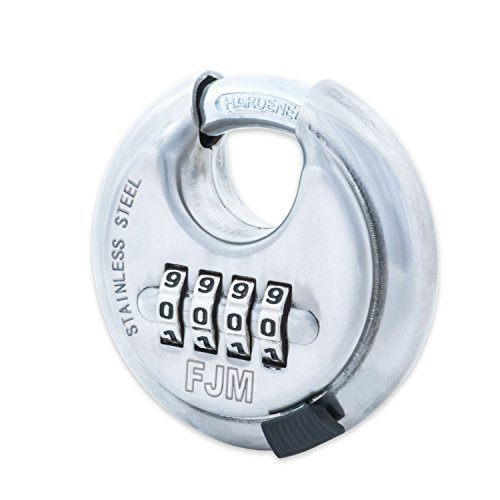 FJM Security SX-790 4-Dial Combination Disc Padlock, Chrome - 10 Pack