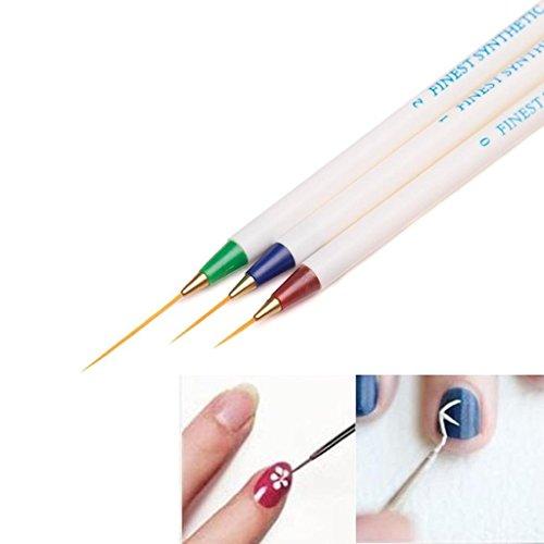 Amuzocity 3pcs Pinceau Nail Art Stylo de Dessin Lignes pour Acrylique Huile Aquarelle Nail Art