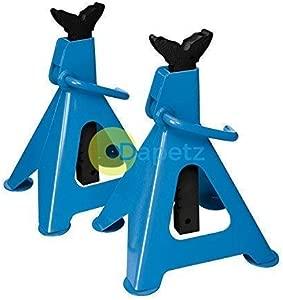 Dapetz 2Pce Axle Stand Set Tonne Fast  amp  Easy Ratchet Height Adjustment Iron Cast