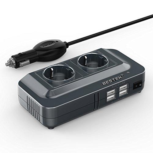 BESTEK 200W KFZ Spannungswandler 12V auf 230V Wechselrichter mit 2 Steckdosen und 4 USB Autoladegerät inkl. Zigarettenanzünder Stecker Schwarz