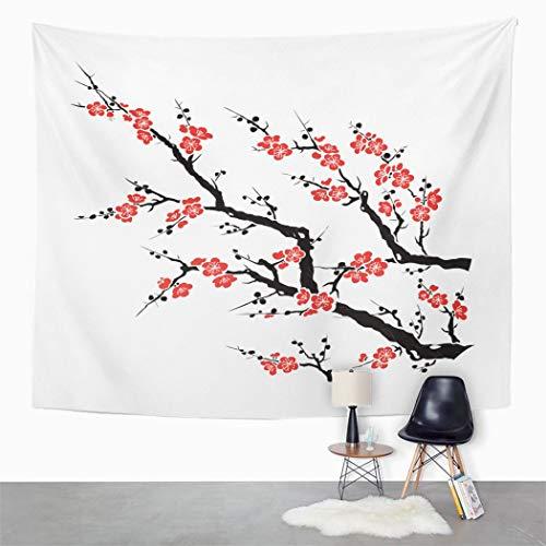 Y·JIANG Tapiz de árbol de ciruelo rojo, cerezo, flor de ciruelo chino, decoración para el hogar, dormitorio grande, manta ancha para colgar en la pared para sala de estar, dormitorio, 203 x 152 cm
