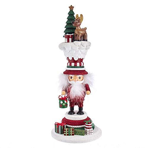 By Kurt Adler - Schiaccianoci con renna felice di Babbo Natale, 38 cm