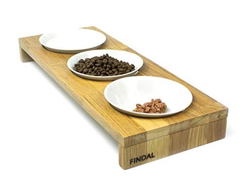 FINDAL - Katzennapf 3er Set aus Holz Eiche mit 3 weißen Keramik Schüsseln, erhöhter Futternapf für Katze & Hund, Fressnapf spülmaschinenfest & modern für Trockenfutter, Nassfutter & Wasser für Katzen