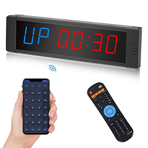 Seesii Gym Timer,Wireless BT Mobile App Controlled LED Interval Timer,Count Down/Up Clock Stopwatch with Remote for Home Gym Fitness