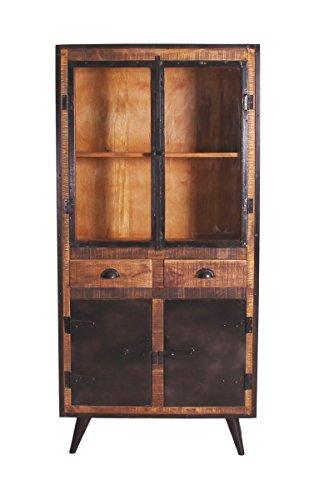 SIT-Möbel Iron 7804-04, Vitrine mit 2 Glastüren, 2 Holztüren & 2 Schubladen, aus Mangholz, Schmiedeisenapplikationen, braun, 90 x 40 x 190 cm