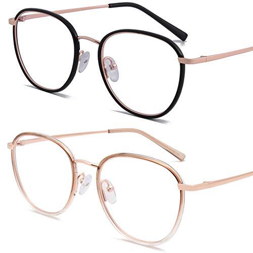 Bias&Belief Pack de 2 Gafas con Bloqueo de luz Azul Gafas para Juegos de computadora Marco de anteojos Transparente Gafas Anti-Fatiga Ocular para Mujeres y Hombres,F