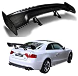 ICBEAMER Universal Fit Real Carbon Fiber GT Wing Rear Weatherproof Adjustable Trunk Deck Spoiler with Accessories Kit (57' Length / 7' Bracket Height)