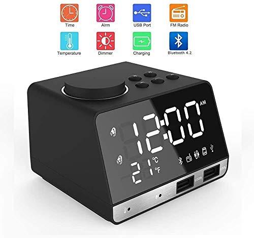 KYLL Reloj Despertador Digital, Relojes de Alarma de cabecera de Radio con función de Altavoz Bluetooth/Sleep/Snooze/LED de la Pantalla del Espejo/alarmas duales y Conector de Carga USB Dual