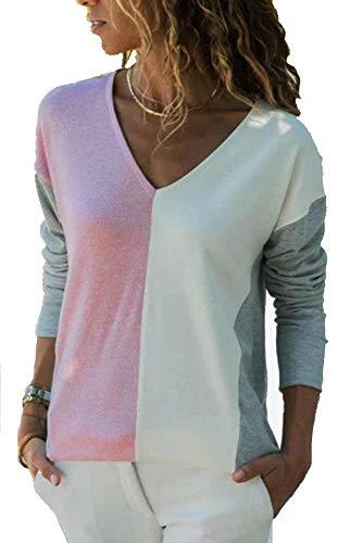 YOINS Camiseta de Manga Larga para Mujer Camisa Cuello V Blusa Sexy Moda Top Otoño Invierno Rosa-02 XXL
