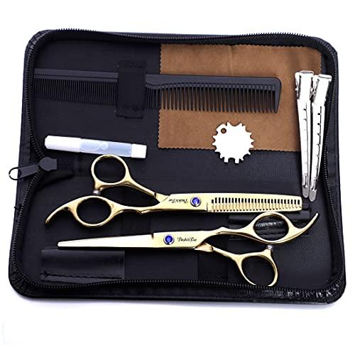 XJST Juego de Tijeras de peluquería, Tijeras de Corte de Pelo Kit de cizallas, para peluquería niños hogar Hombres Mujeres Mascotas Regalo Caja de Cuero