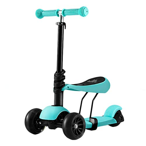 Cheapest Price! Scooter NLIAN- 2-in-1 Kids Lightweight 3 Wheels Kick with Adjustable Removable Seat ...