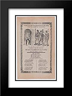 Jose Guadalupe Posada - 28x40 Black Modern Frame and Double Matted Museum Art Print - Broadsheet Relating to The Capture of Valentin Mancera who is Shown Playing The Guitar and Being cornered by Men