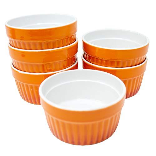 ToCi Ofenschalen Set Keramik 185ml Dessertschalen Orange für Creme Brulee Ragout Fin Tapas Überbacken Mikrowellen- Ofen- und Gefrierschrankfest (6er-Set Orange)